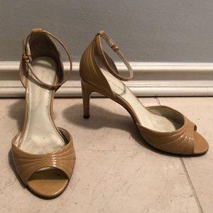 Elie Tahari nude ankle strap heels